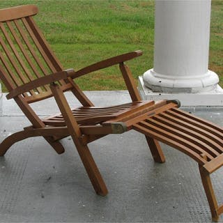 Vintage Teak Deck chair. Reported to be from the M.S. Queen Elizabeth FR3SHC1