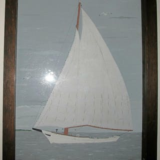 Oil on board. Sailboat shadowbox framed Signed Rm. 20thc Folk Art FR3SHC1
