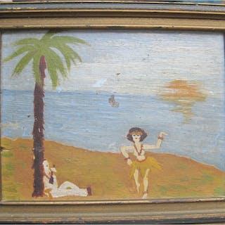 Small Southern American Folk art oil/b Sailor, Hula girl c1920s Foy
