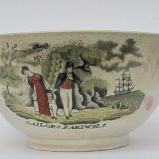 Pink Sunderland lustre bowl. c1820. Sailor's Farewell. FR3SHC1
