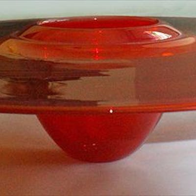 Contemporary Blown Glass Platter, Selenium Red with Black Spiral