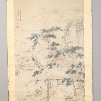 After Leng Mei, Chinese Hanging Scroll, Ink on Paper 19th Century Copy FR3SHHC