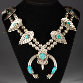 Native American Squash Blossom Sterling Silver and Turquoise Necklace FJF1