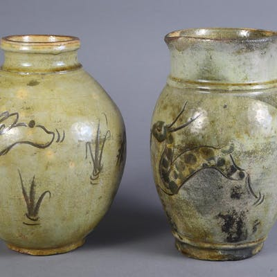 Two Asian Incise-Decorated Ceramic Vessels, 19th Century FR3SHSA
