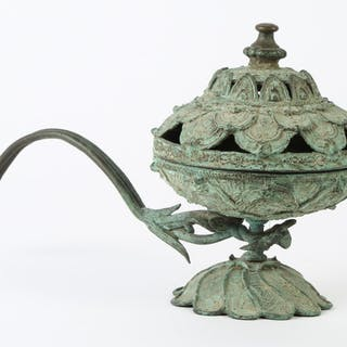 Vietnamese Bronze Oil Lamp, Tran Dynasty, 14th or 15th Century AD A5WC