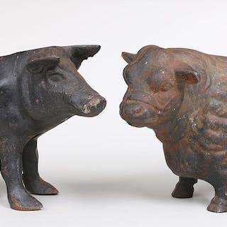 Group of (2) cast iron animal still banks. FR3SH