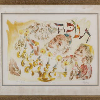 CHAIM GROSS, ''Chanukah,'' lithograph in colors. FR3SH