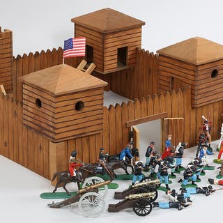 Group of (32) toy figures and fort. FR3SH