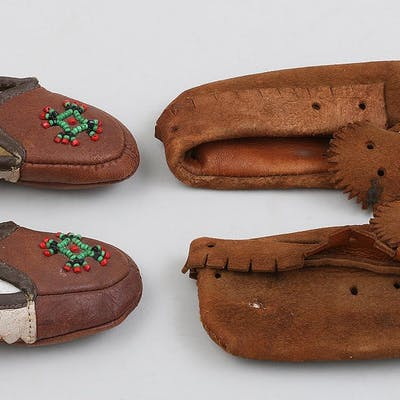 Native American group of beaded child moccasins. FR3SH.