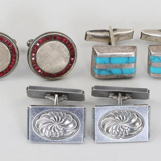 Pair of Georg Jensen sterling cufflinks and others. FR3SH