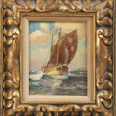 Sailboat, oil on canvas, early 20C. FR3SH.