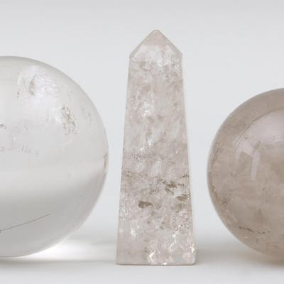Group of (3) rock crystal objects. FR3SH.