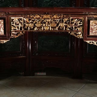 Chinese Carved Parcel Gilt and Lacquered Painting Table PK1A