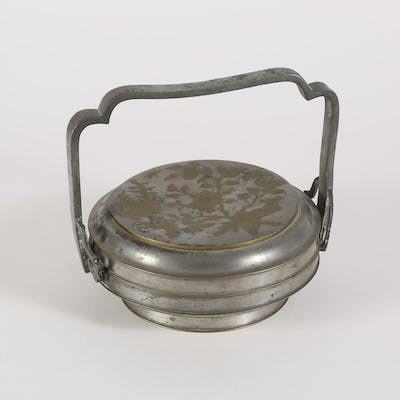 Chinese Pewter and Brass Handled and Covered Container, 19th Century FR3SHLM