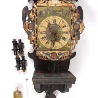 Dutch Provincial Painted Metal and Wood Clock FR3SHLM