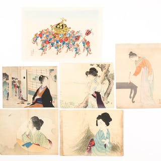 Group of Six Japanese Woodblock Prints, 19th and 20th Century FR3SHLM FR3SHSA