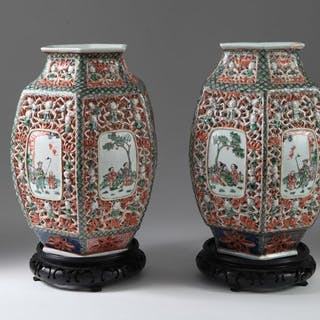 Pair of Chinese Porcelain Famille Verte Iron Red Lantern Shades, Hundred