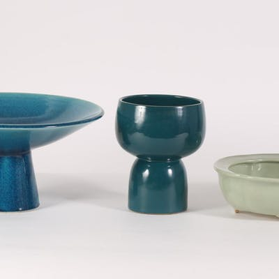 Two Japanese Turquoise Vessels and a Celadon Jardiniere FR3SHLM