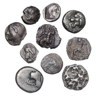Ancient Greece, collection silver coins, almost all Obol. (10)
