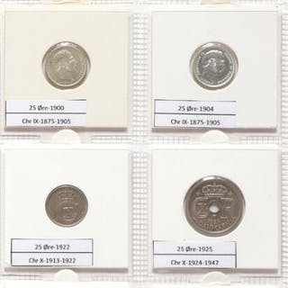 Collection of Danish decimal coins from Christian IX to Frederik IX