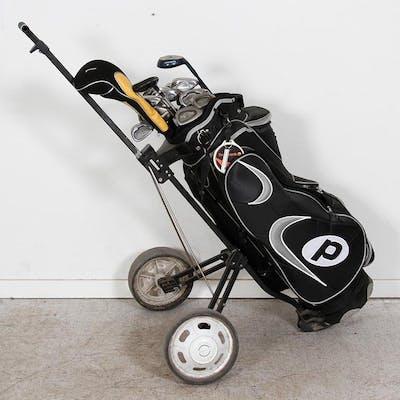 Golfset - Golfbag med Rullvagn & TIllbehör - 15 st. Klubbor