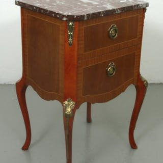 Nattduksbord / Byrå med Stenskiva - Rokoko stil