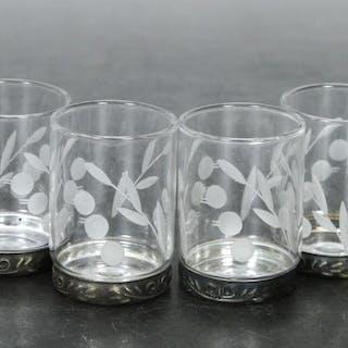 6 st. Spritglas med Metallbotten - Etsad dekor