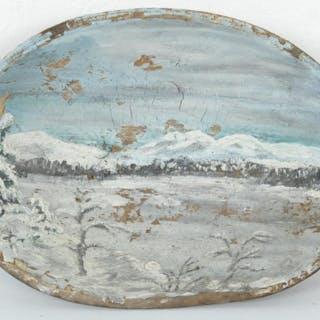 Bemålad Skål i Trä - Allmoge - 1871 - J.H. Johansson