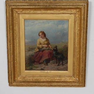 Målning i guldram - Dressing my pet - J.J. Hill