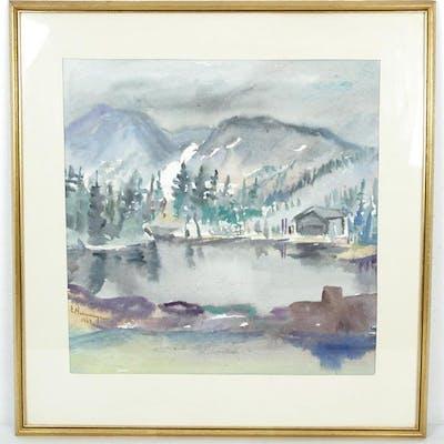 Erik Hemmingsson 1963 - Inglasad akvarell - Jämtland