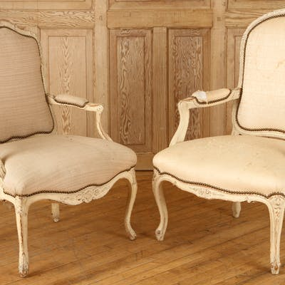 Sale 347 Lot 279 A lot of two white painted Louis XV style arm chairs circa 1940