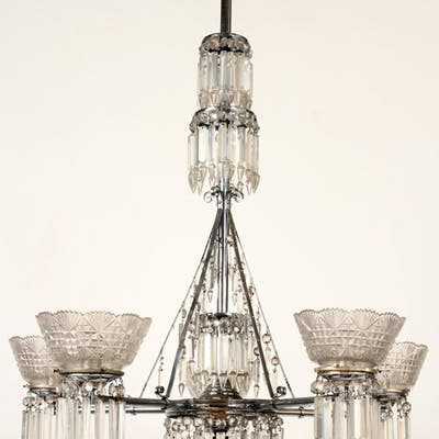 Sale 347 Lot 46 A five arm silvered metal and crystal chandelier circa 1900