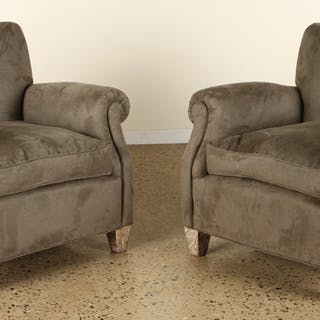 Sale 348 Lot 157 A pair of upholstered club chairs in the...