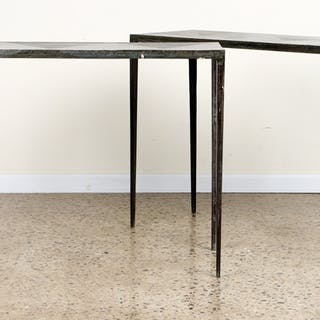 Sale 348 Lot 121 A pair of iron console tables in the...