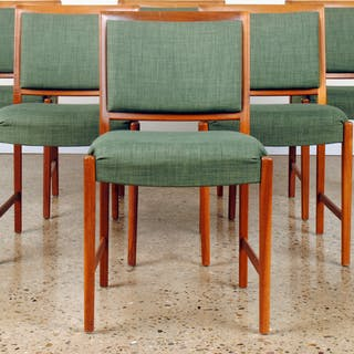 Sale 348 Lot 46 A set of six French mid century modern upholstered dining chairs