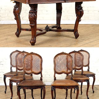 A walnut Louis XV style dining table with six matching...