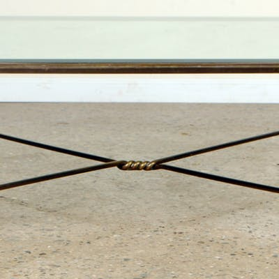 A two tone bronze coffee table in the manner of Jansen circa 1970
