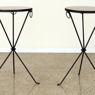 A pair of round satinwood sunburst top cocktail tables...