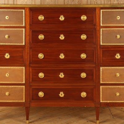 A large French Directoire style mahogany office cabinet signed Mercier