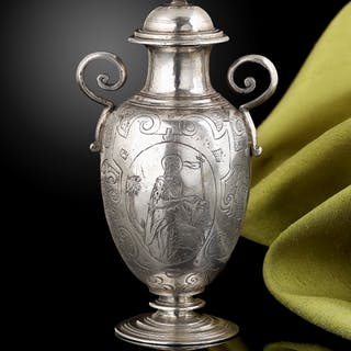 A rare Silver altar bottle for holy oil, Spanish c.1620
