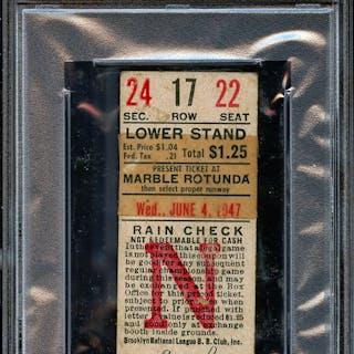 1947 Brooklyn Dodgers Ticket Stub Reiser Crashes Into Wall-Last Rites