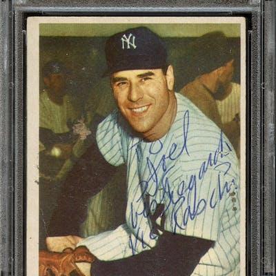 1954 Bowman #33 Vic Raschi Autographed PSA/DNA AUTHENTIC