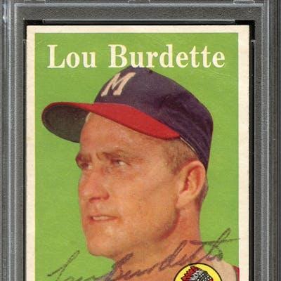 1958 Topps #10 Lew Burdette Autographed PSA/DNA AUTHENTIC