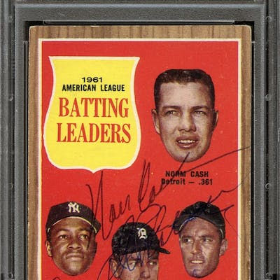 1962 Topps #51 Norm Cash/Elston Howard/Al Kaline/Jim Piersall Autographed