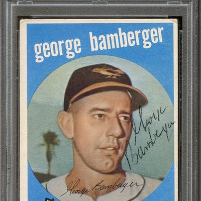 1959 Topps #529 George Bamberger Autographed PSA/DNA AUTHENTIC