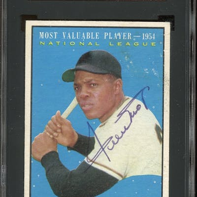 1961 Topps #482 Willie Mays MVP Autographed SGC AUTHENTIC 30 GOOD 2