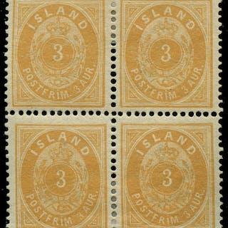AFA 12: 1882. Oval, 3 Aur, gul, lille 3-tal, takket 14. 4-blok. Ubrugt.