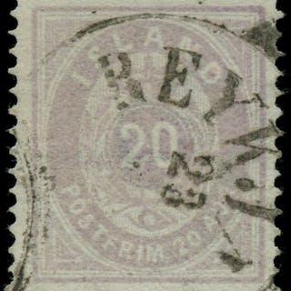 AFA 10: 1876. Oval, 20 Aur, 1. tryk, lysviolet. Annulleret REYKJAVIK