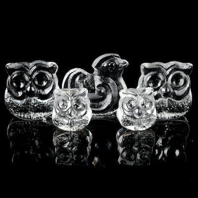 SKULPTURER, 5 st, glas, Lars Hellsten för Skruf