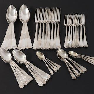 Bestickservisdelar 45st, silver, Bernhard Hertz, Danmark